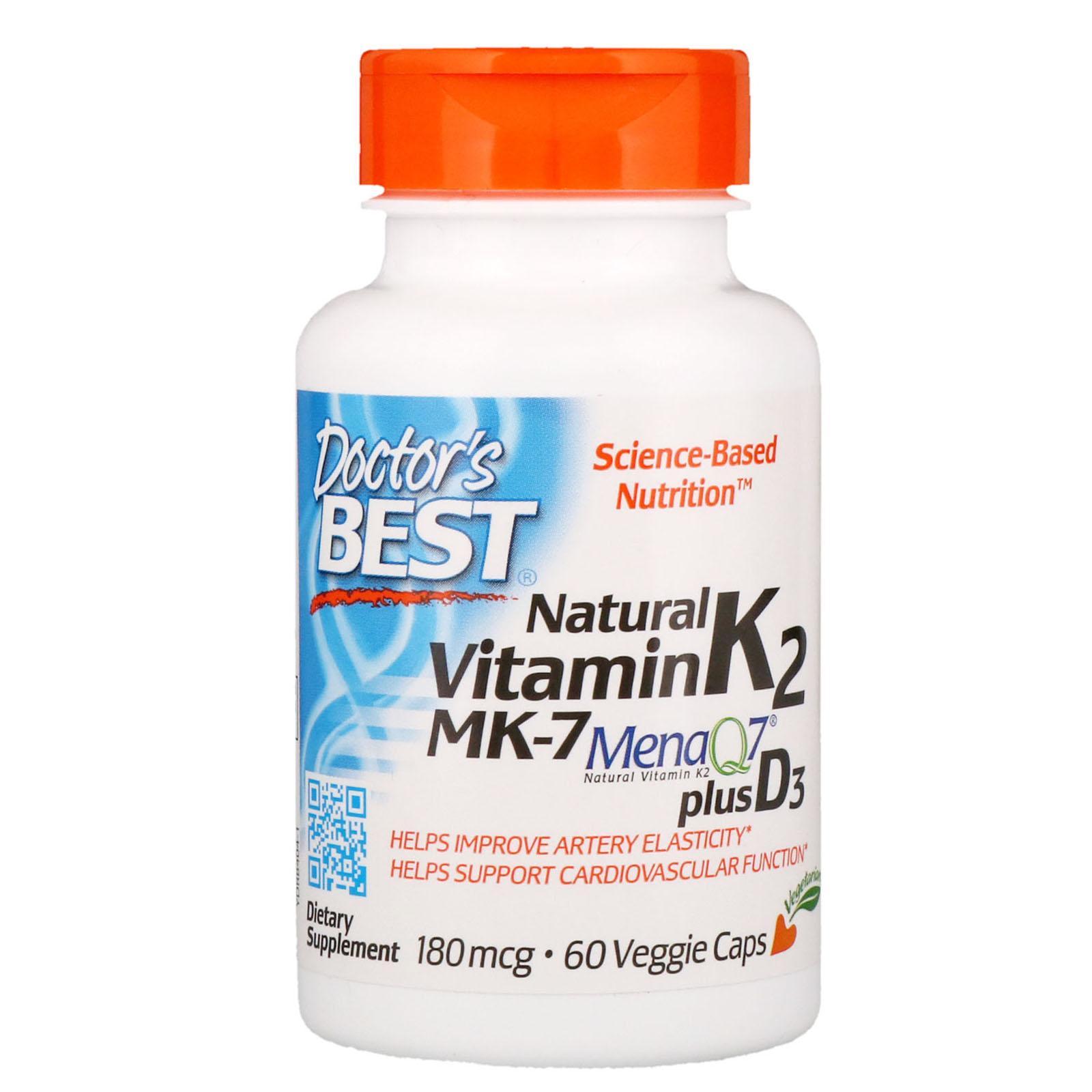 Doctor's Best Vitamin K2 MK-7 (MenaQ7), plus vitamin D3, 180 mcg, 60 rostlinných kapslí