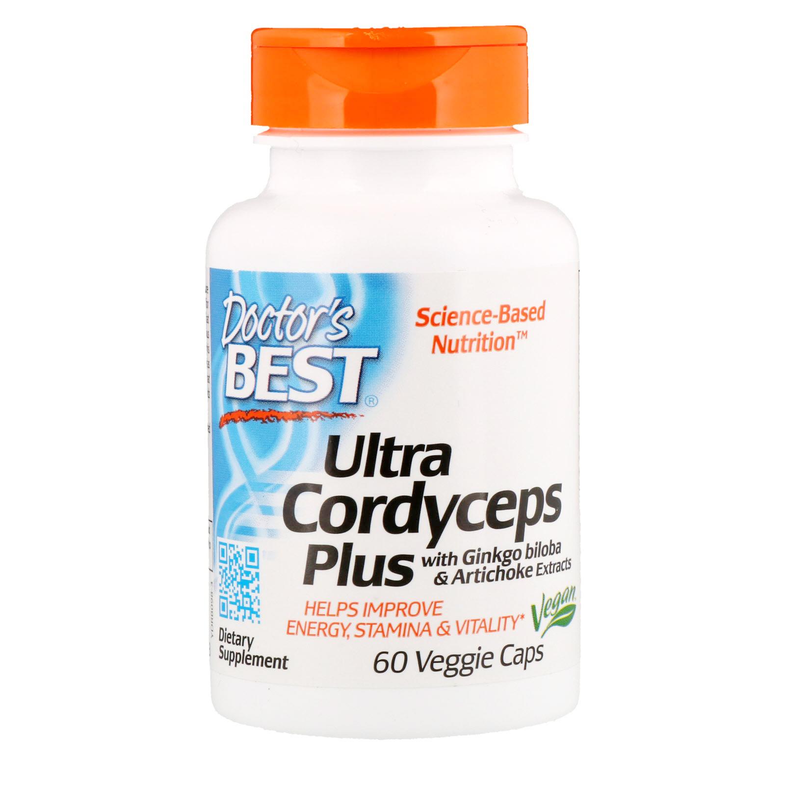 Doctor's Best Ultra Cordyceps Plus Artychoke & Ginkgo Biloba, 60 kapslí