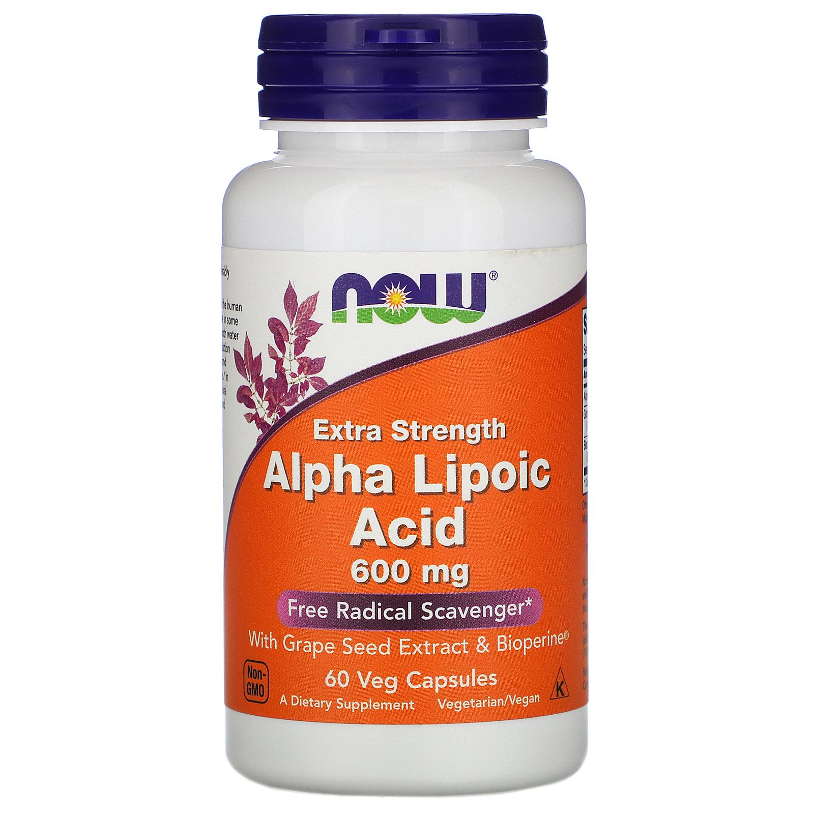 Now Foods ALA (kyselina alfa lipoová), Extra Strength, 600 mg, 60 rostlinných kapslí