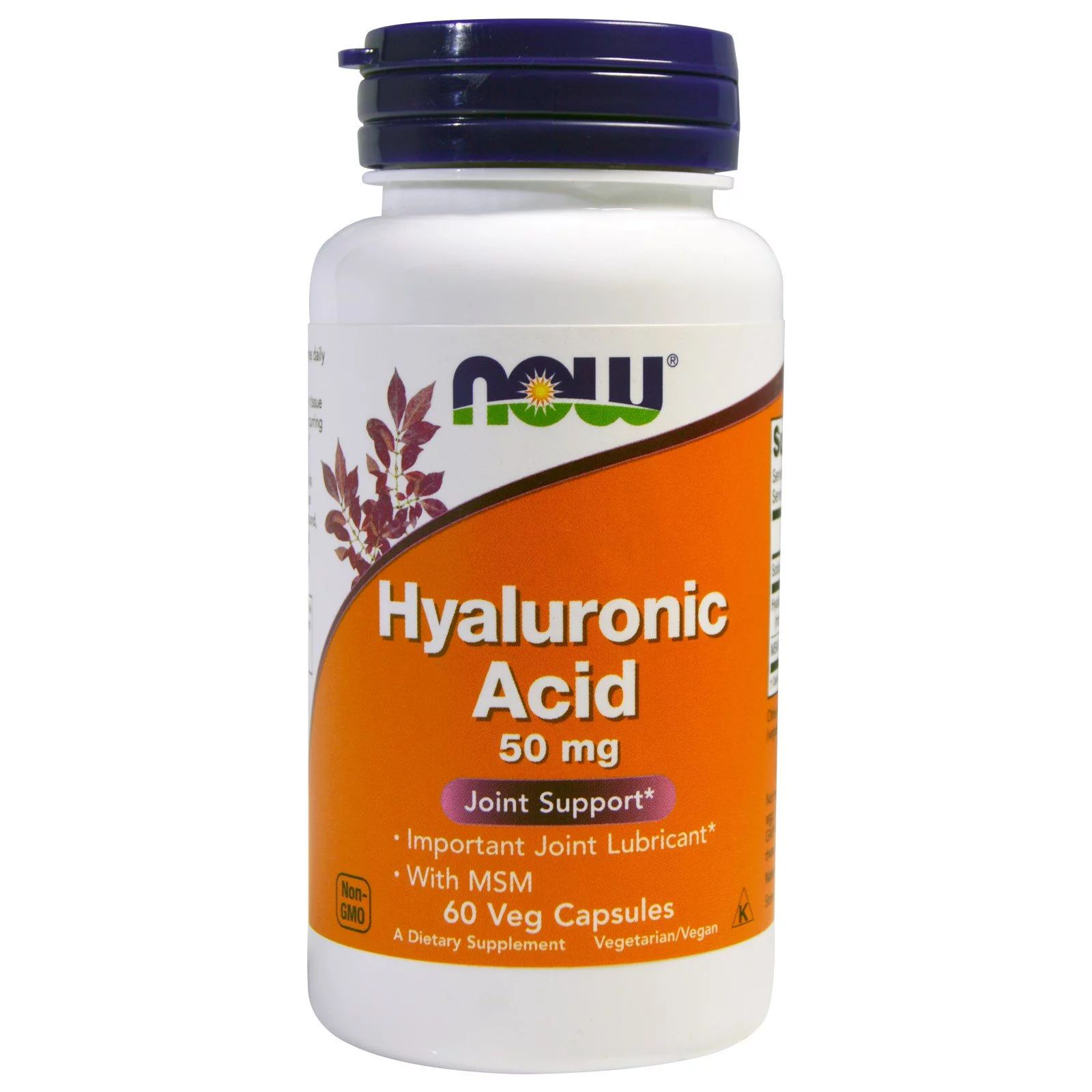 Now Foods Now Foods Hyaluronic Acid, 50 mg + MSM , 60 rostlinných kapslí