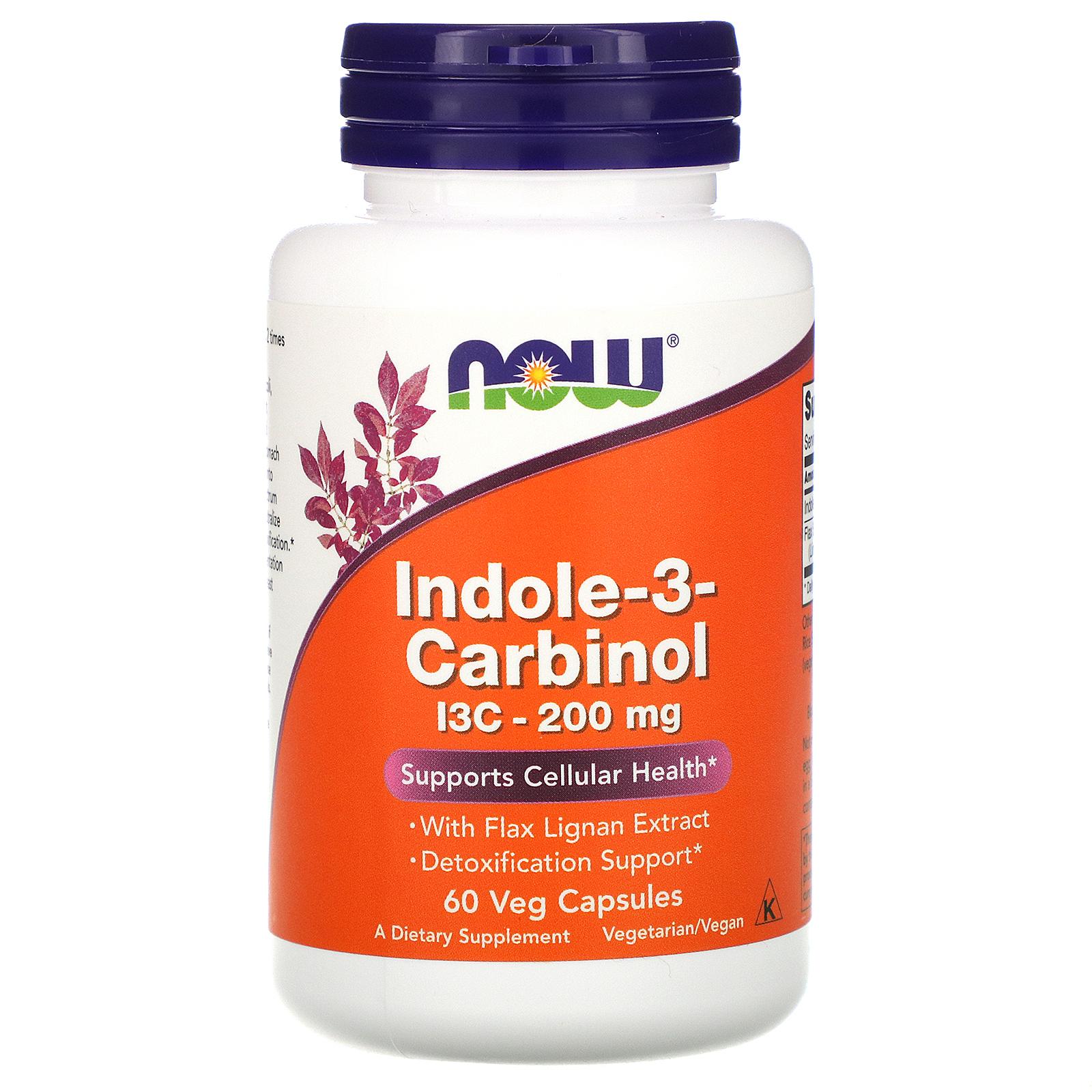 Now Foods Indol-3-Carbinol (I3C), 200 mg, 60 rostlinných kapslí